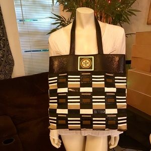 Tory Burch Large Brown Check Patent Shopper Tote